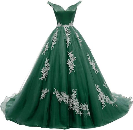 Amazon.com: Formal Lady Womens Off Shoulder V Neck Evening Dresses Long Lace Tulle Quinceanera Prom Ball Gown F009 Mint: Clothing