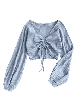 [40% OFF] [HOT] 2019 Textured Knitted Gathered Top In GREY BLUE S | ZAFUL
