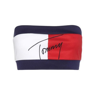 Flag red, white and blue embroidered bandeau top
