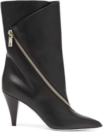 Point Toe Leather Ankle Boots - Womens - Black
