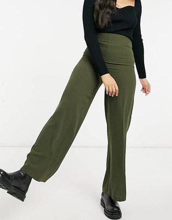 ASOS DESIGN wide leg pants with clean high waist in khaki   ASOS
