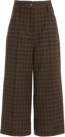Temperley London Ginger Plaid Wide-Leg Culottes