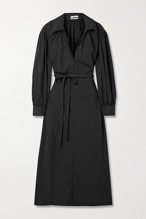 Belted Cotton-blend Poplin Midi Dress - Black