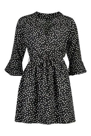 Spot Wrap Ruffle Hem Skater Dress | Boohoo black
