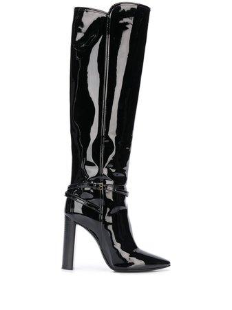 Saint Laurent patent leather boots - FARFETCH