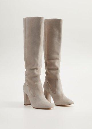 Leather high-leg boots - Women | Mango USA
