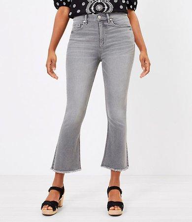 The Curvy Frayed High Waist Kick Crop Jean in Pure Grey Wash