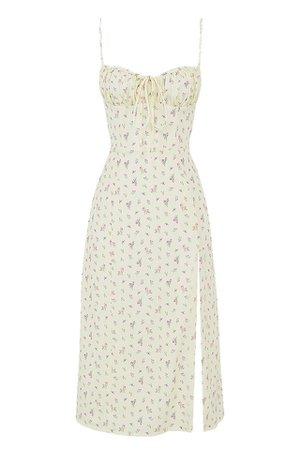 House of CB - 'Carina' Lemon Floral Bustier Midi Dress