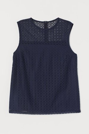 Sleeveless Lace Blouse - Dark blue - Ladies | H&M US