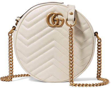 Gg Marmont Circle Quilted Leather Shoulder Bag - White