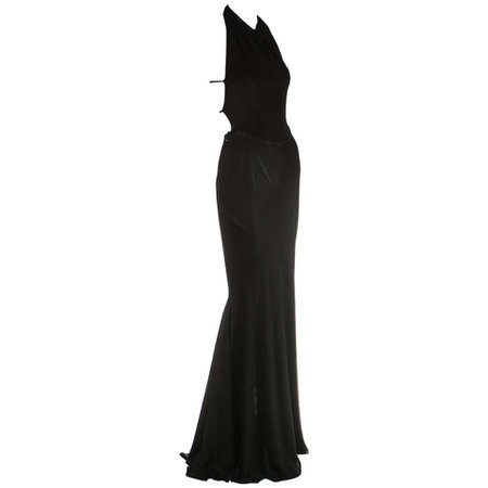 Azzedine Alaia black halter neck maxi dress with train and open back, c. 1990s For Sale at 1stDibs