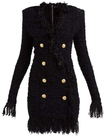 Crest Embossed Double Breasted Tweed Mini Dress - Womens - Black
