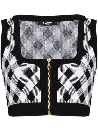 Balmain gingham zipped knitted top