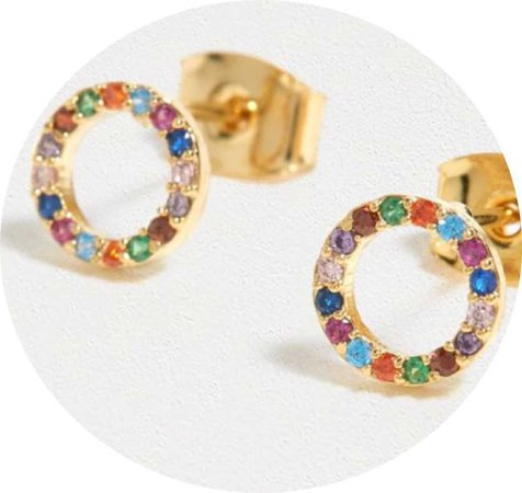 Estella Bartlett rainbow cz circle earrings