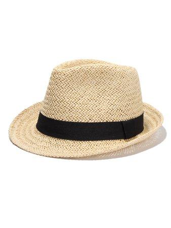 Contrast Band Straw Fedora Hat