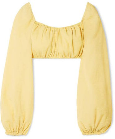 Clara Cropped Crinkled Cotton-blend Top - Pastel yellow