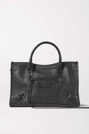 Classic City Croc-effect Leather Tote Bag - Black
