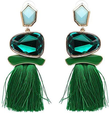 Amazon.com: Tassel Earrings Cute Dangle Crystal Earring Thread Jewelry Bohemian Drop Earrings (Green): Jewelry