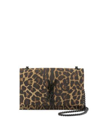 Saint Laurent Kate Monogram YSL Small Leopard Jacquard Crossbody Bag | Neiman Marcus