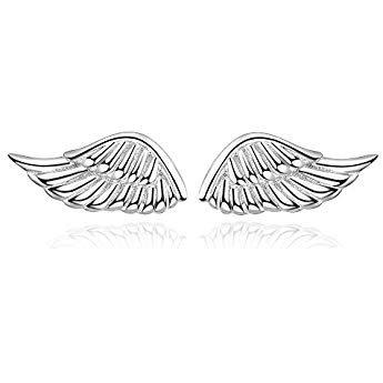 Sterling Silver Small Angel Wing Stud Earrings