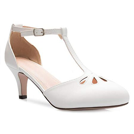 Women's White Retro Heels: Amazon.com