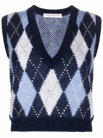 Alessandra Rich cropped argyle knit jumper