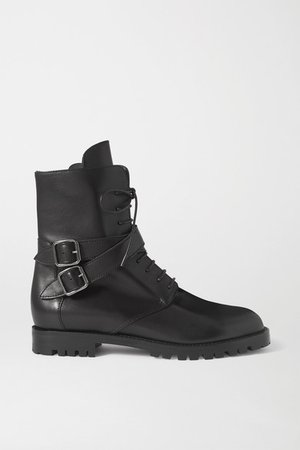 Tiniosa Buckled Leather Ankle Boots - Black