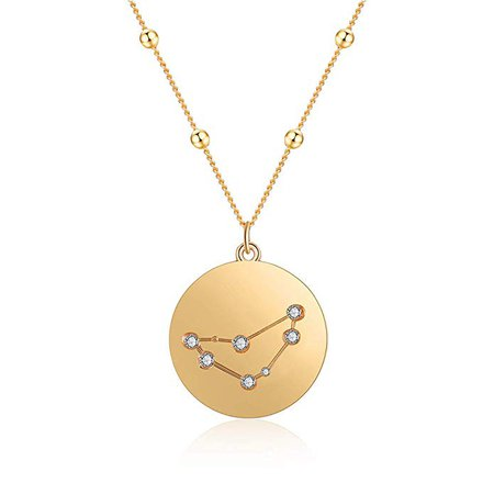 18K Gold Plated Zodiac Necklac, Constellation Pendant Necklace for Girls Women with Gift Box (Leo): Clothing