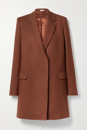 Wool And Cotton-blend Twill Coat - Brick