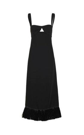 Staying Power Fringed Crepe Maxi Dress By Johanna Ortiz   Moda Operandi