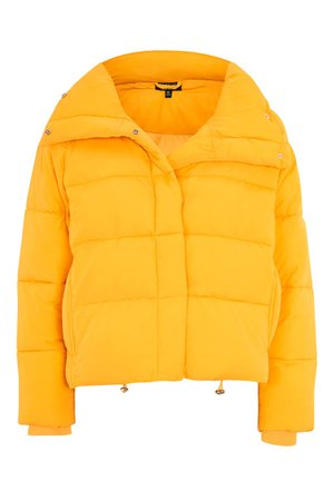 Topshop Yellow Wrap Puffer Jacket