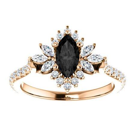 Dahlia Marquise Black Engagement Ring 14k Rose Gold Flower | Etsy