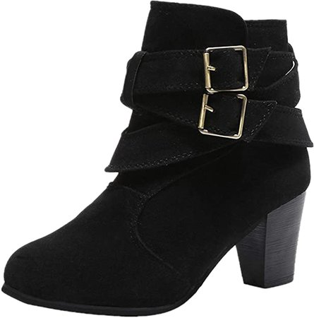 Amazon.com | WuyiMC Wedges Suede Booties for Women's Chunky Heels Boots Buckle Strap Block Heels Ankle Booties | Ankle & Bootie