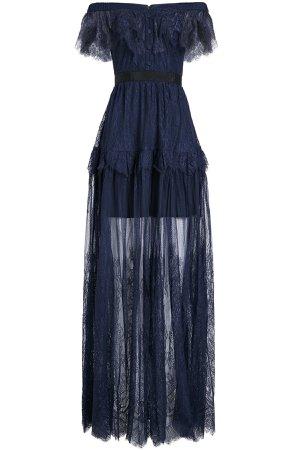 Off-Shoulder Dress with Lace Overlay Gr. UK 10