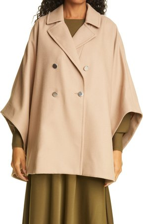 Donnata Double Breasted Wool & Cashmere Blend Cape