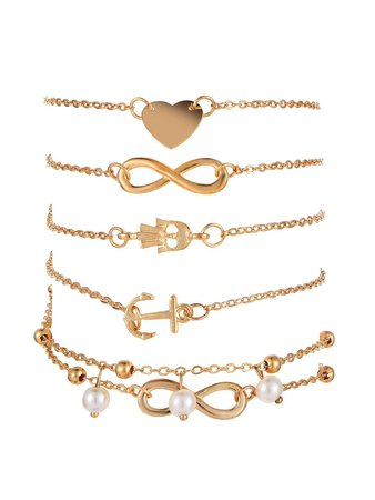 Infinite Charm Chain Bracelet 5pcsFor Women-romwe