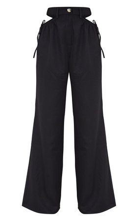 Black Woven Cut Out Tie Detail Wide Leg Pants | PrettyLittleThing USA