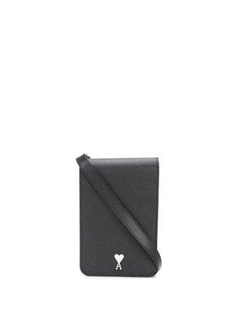 Black AMI small leather accordion bag - Farfetch