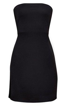 Black Crepe Split Bandeau Bodycon Dress | PrettyLittleThing