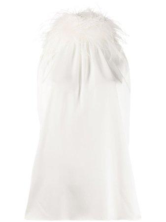 Styland feather-embellished Sleeveless Blouse - Farfetch
