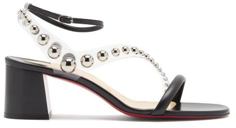 Corinne 55 Pvc-strap Leather Sandals - Black