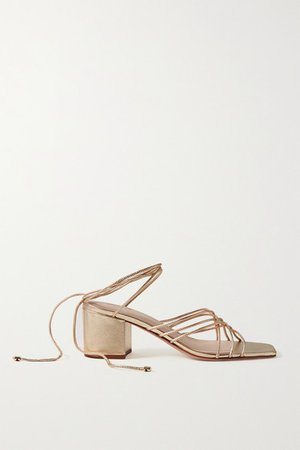 Woven Metallic Leather Sandals - Gold