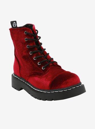 Anarchic By T.U.K. Burgundy Velvet Boots