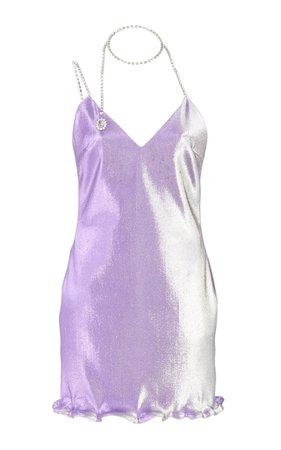Crystal-Embellished Lamé Mini Dress by Area | Moda Operandi