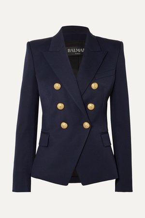 Navy Double-breasted wool-twill blazer   Balmain   NET-A-PORTER