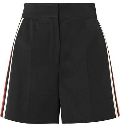 Striped Wool Shorts - Black