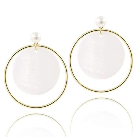 Amazon.com: KISSPAT Natural Mother of Pearl Shell Earrings White Shell Round Shaped Jewelry Charm Circle Dangle Drop Stud Earrings for Women Girls Valentine's Day: Jewelry