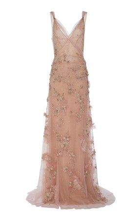 Embroidered Tulle Evening Gown by Marchesa | Moda Operandi