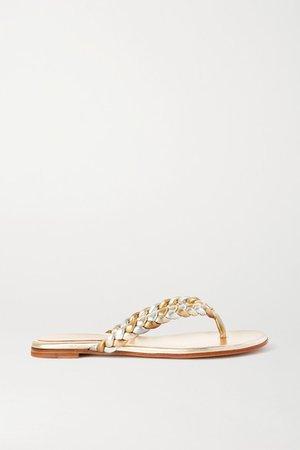 Metallic Braided Leather Flip Flops - Gold