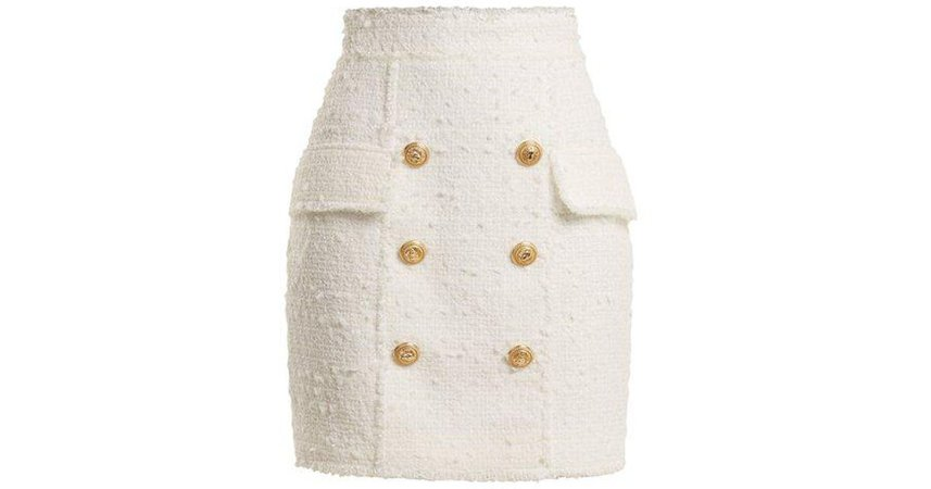 White Gold Buttons Tweed Skirt